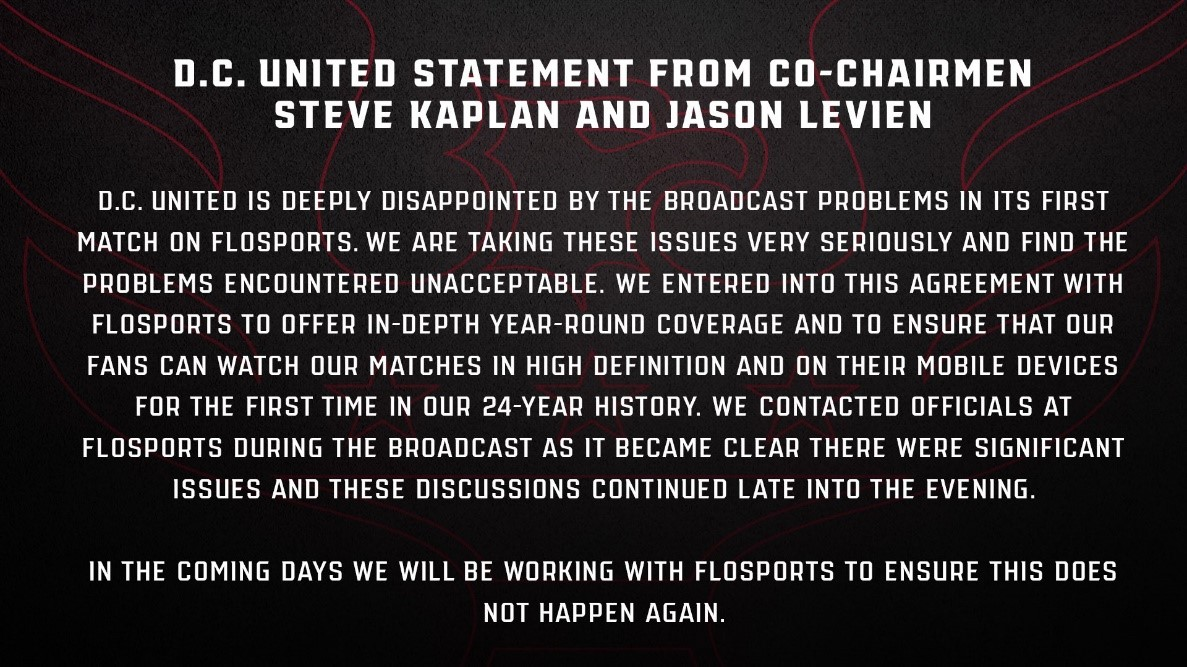 Statement from DC United after their first FloFC broadcast.