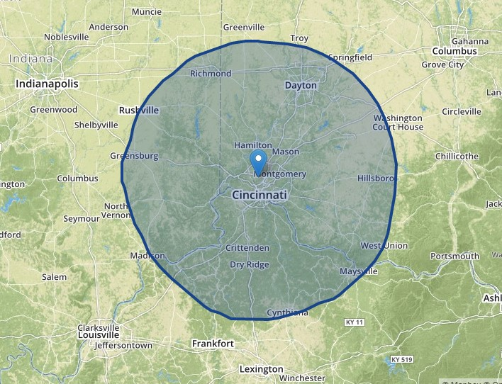 Approximate reach of the WSTR-TV signal.