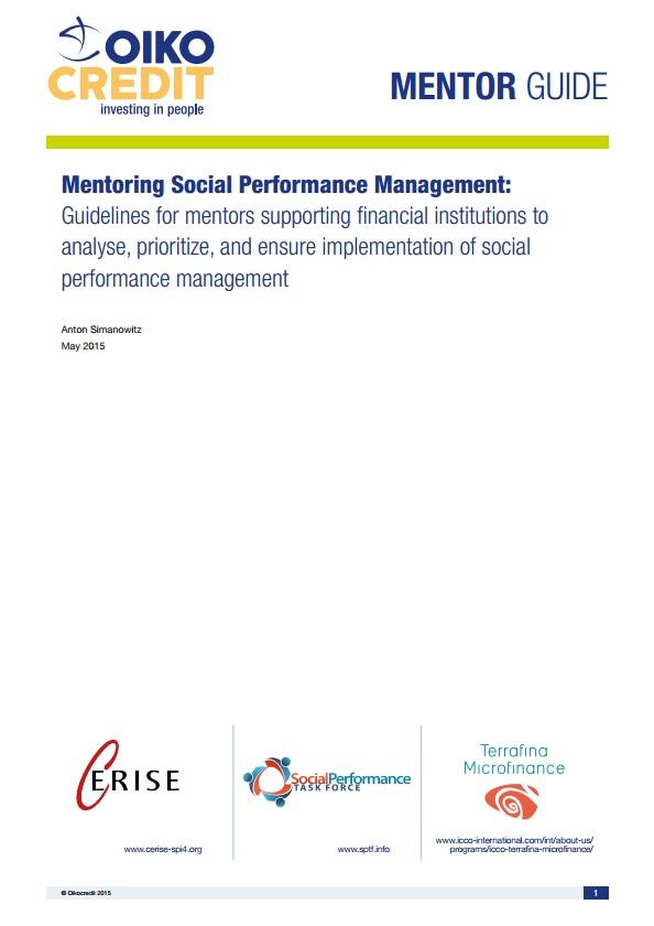 Mentoring Social Performance Management