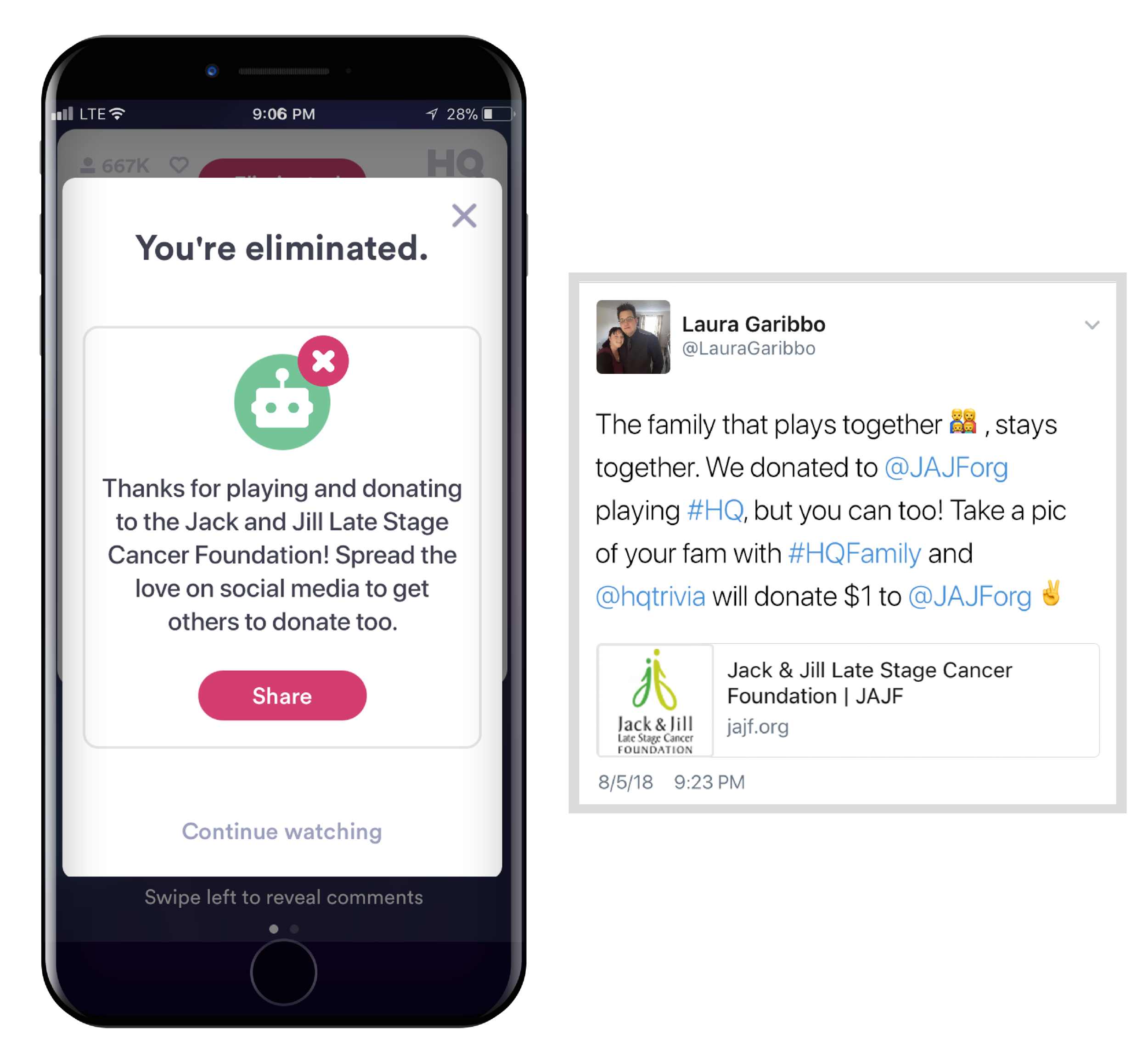 After the Game - If you donated and got eliminated, a pop-up will invite you to share that you donated on social media. The Twitter app will open with a pre-filled tweet about how HQ will donate $1 to JAJF if you share a pic of your family with #HQFamily.