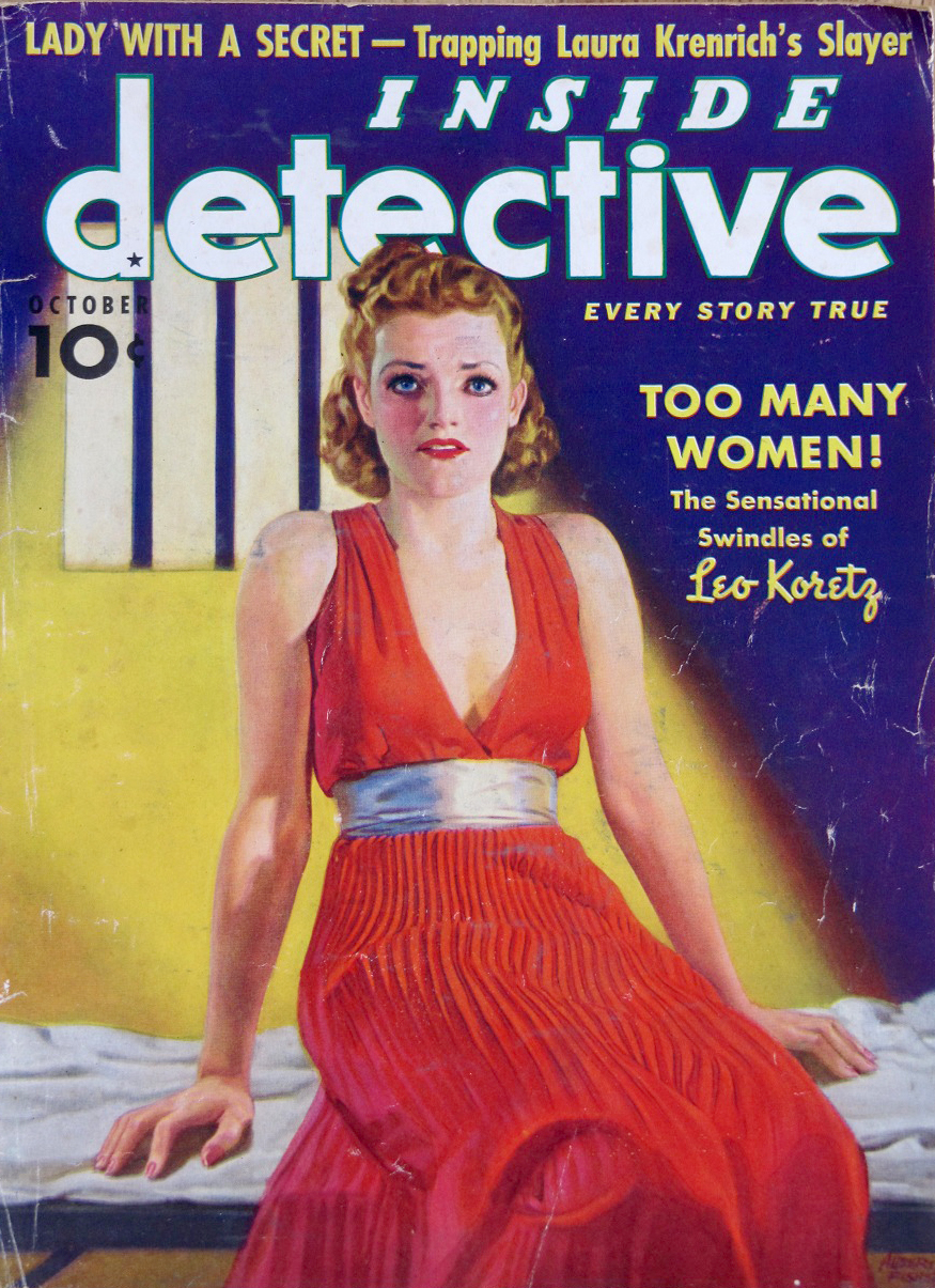 """Inside Detective  magazine's 1938 cover story on """"lover boy"""" Leo Koretz"""
