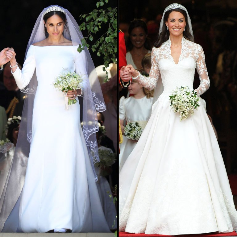 Left is shown Megan Markle's Givenchy wedding gown, to the right is shown Kate Middelton's Alexander McQueen wedding gown.