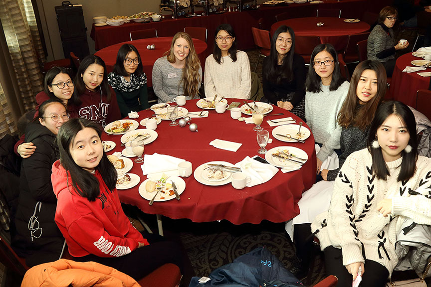 BNUZ students at a luncheon in December 2017 for Dr. Qiu, before she returned to China.