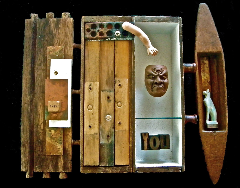 """""""You"""", assemblage on painted wall panel, 16x24x4 inches"""