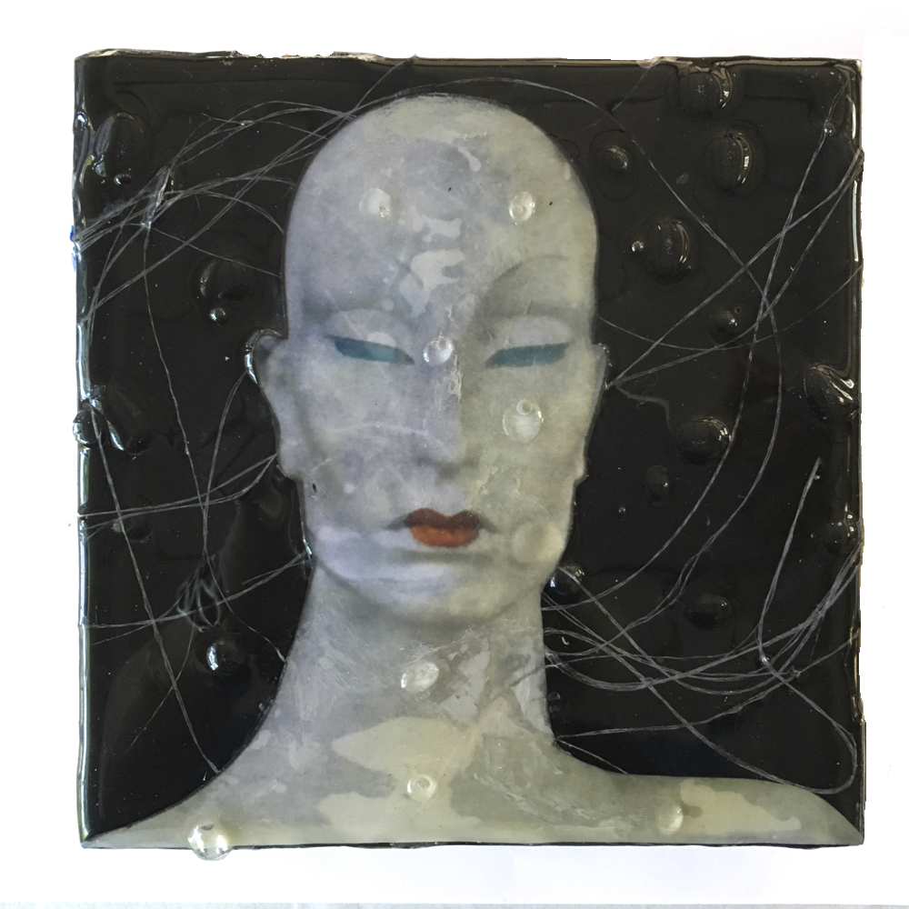 """""""THE Mannequin Series-Wet"""", 6x6x1.5 in, encaustic, collage, resin"""