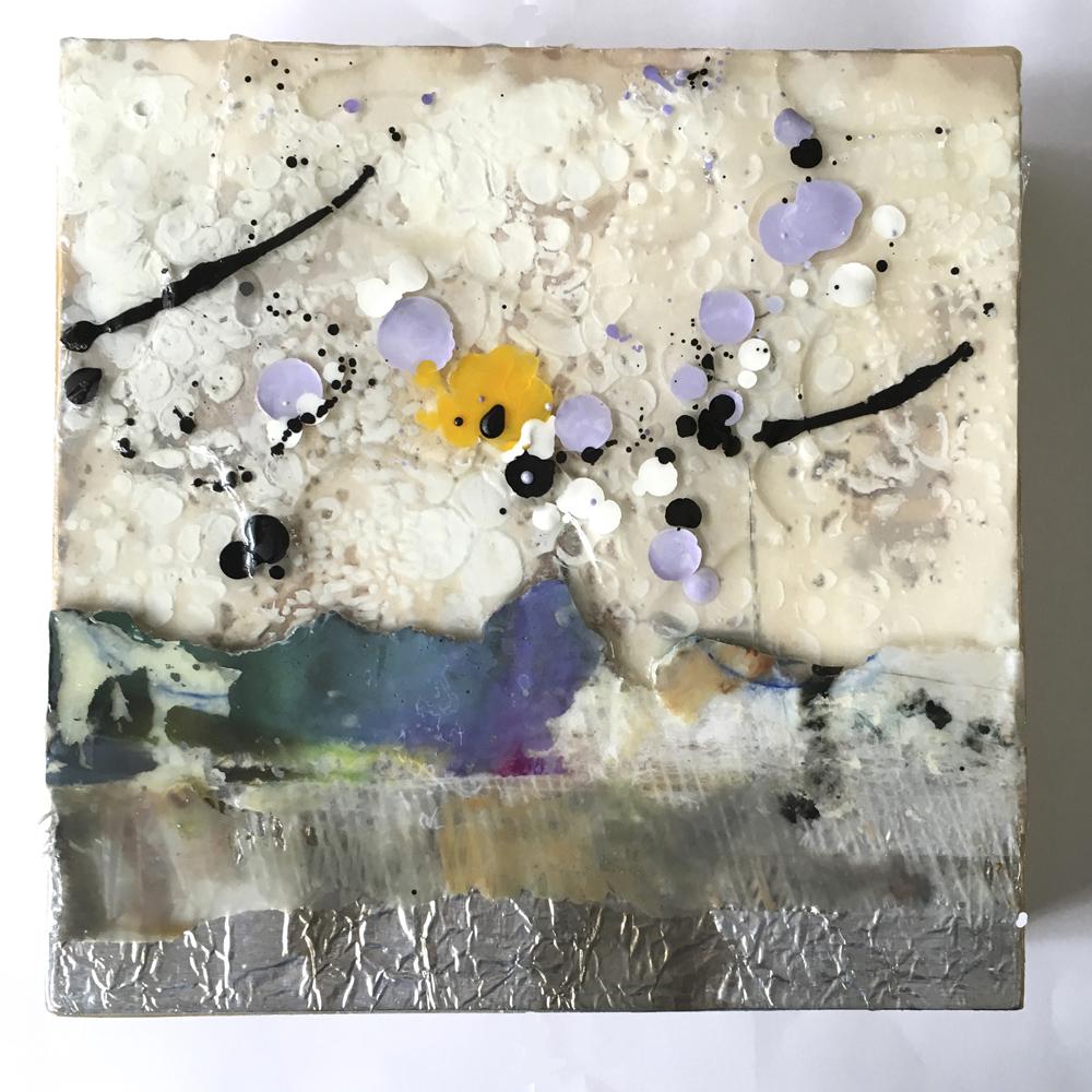 """Landscape"", 8x8x1.5 in, encaustic, collage, resin"