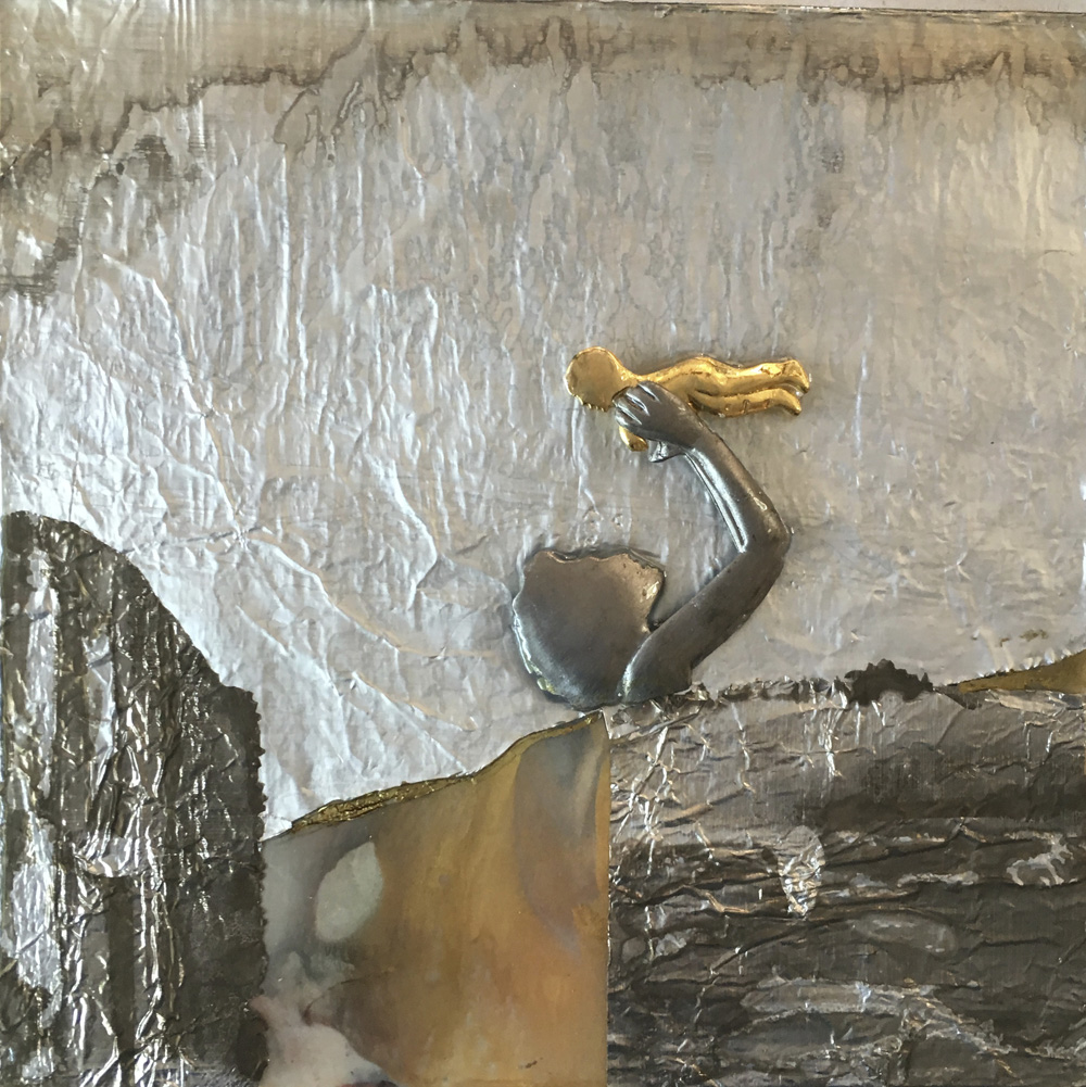 """""""""""Mother and Child"""", 8x8x1.5 in, encaustic, collage, resin"""