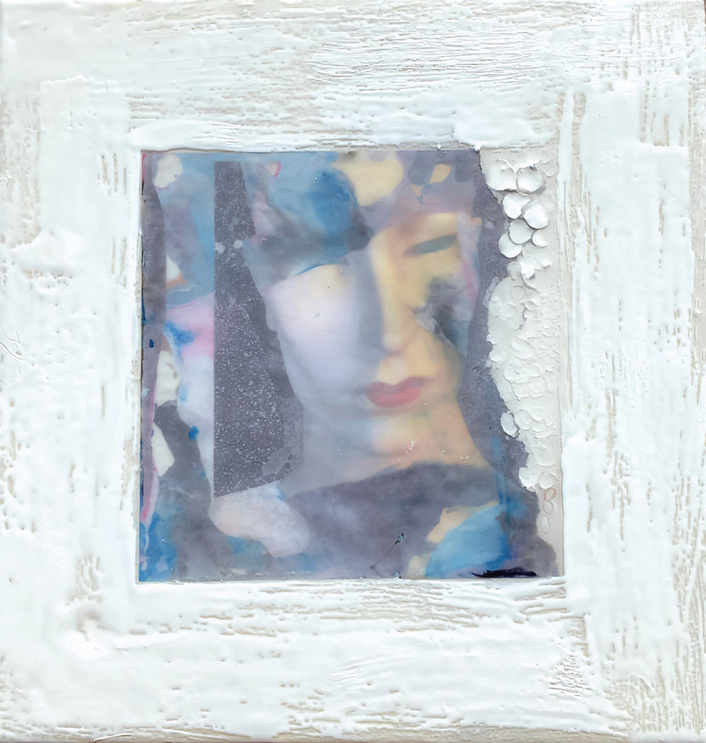 """""""THE Mannequin Series"""", monotype, 14.25x14.75x1 in, encaustic, resin"""