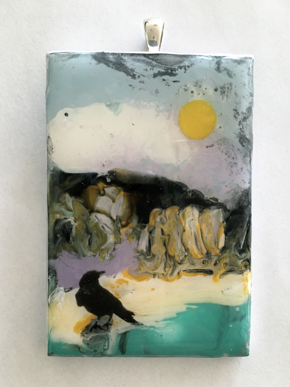 """The Blackbird Pendants"", 2x3x0.25 in, encaustic, resin on birch, SS"