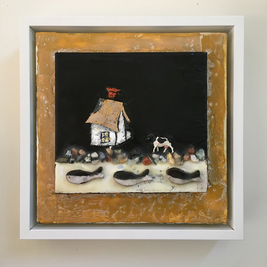 """For Sale: """"House Stories, Three fish & a cow"""", 9x9x2 """""""