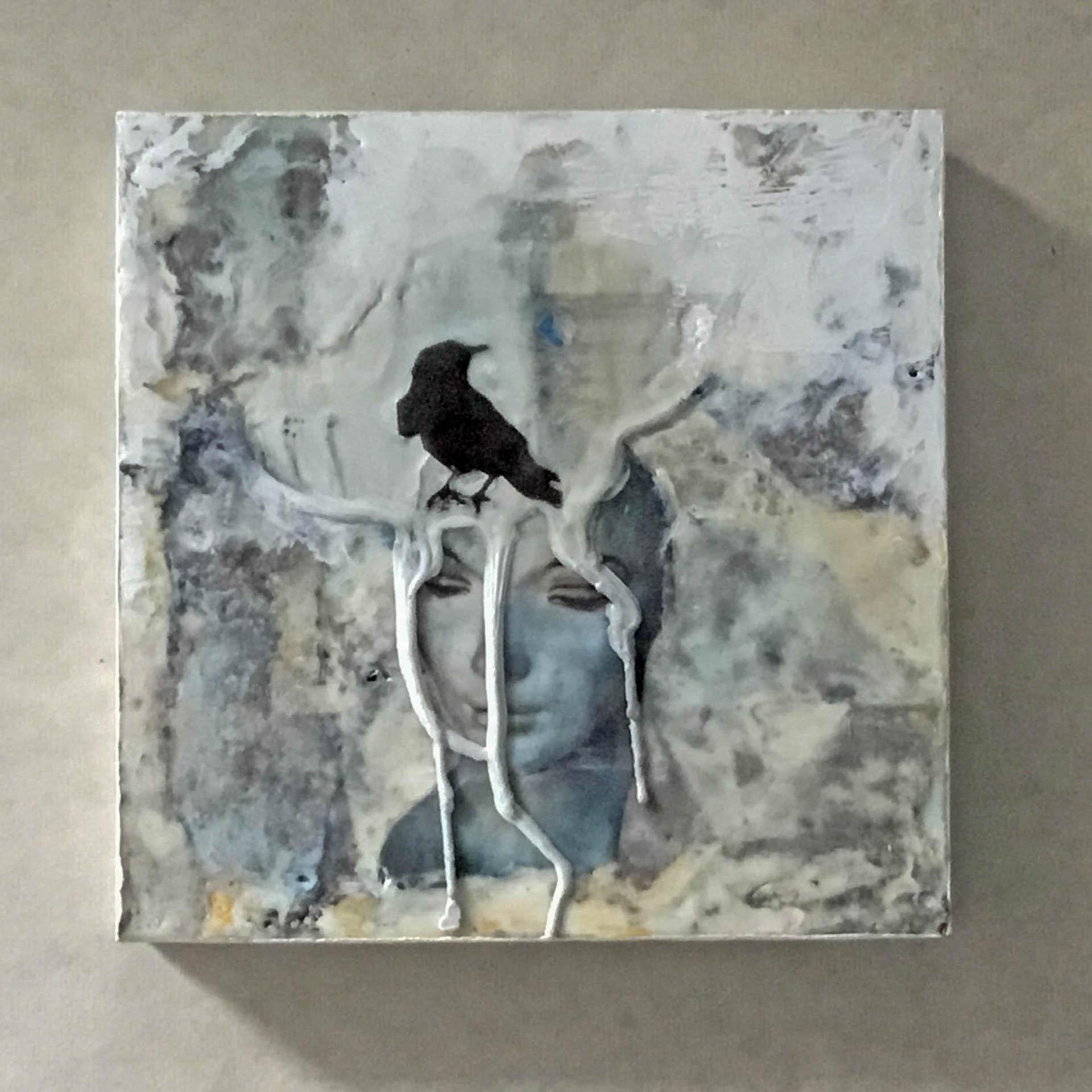 """""""Blackbird Dreams #11"""", 8x8x2 """", encaustic, transfer"""