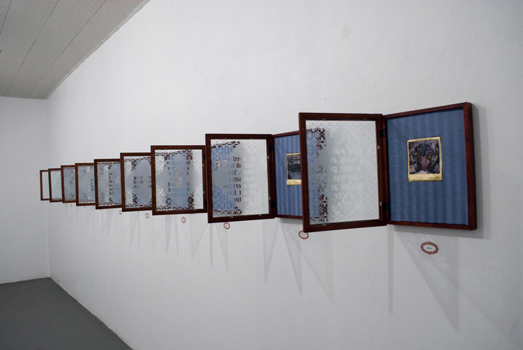 Student Samples 2009- Present | Class Exhibition, Digitized Lantern Slide Composites on Plaster/ Shadow Boxes.