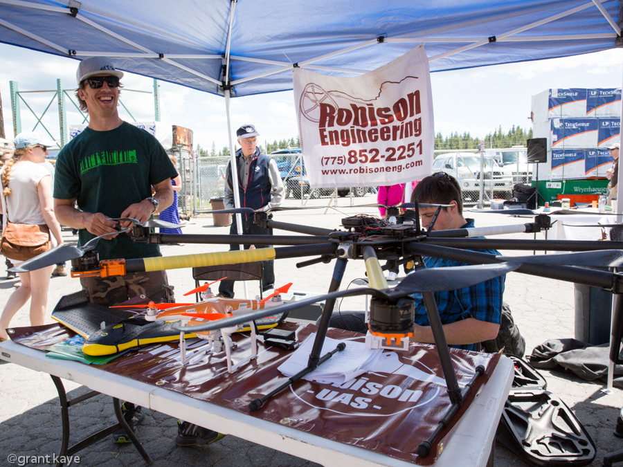 Michael Detwiler of Robison Engineering shows off his massive octa-copter.Photo: Grant Kaye