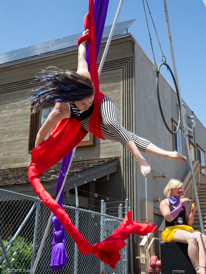 Renee Guay of Tahoe Flow arts dances in the air to entertain the crowds.Photo: Grant Kaye