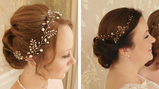 Vines worn at the side: Left: Elizabeth vine; Right: Leanne vine, both part of the new Inspired collection