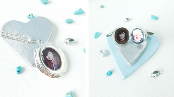Kelly's locket and Dan's cufflinks, in memory of Kelly's dad and Dan's grandfather