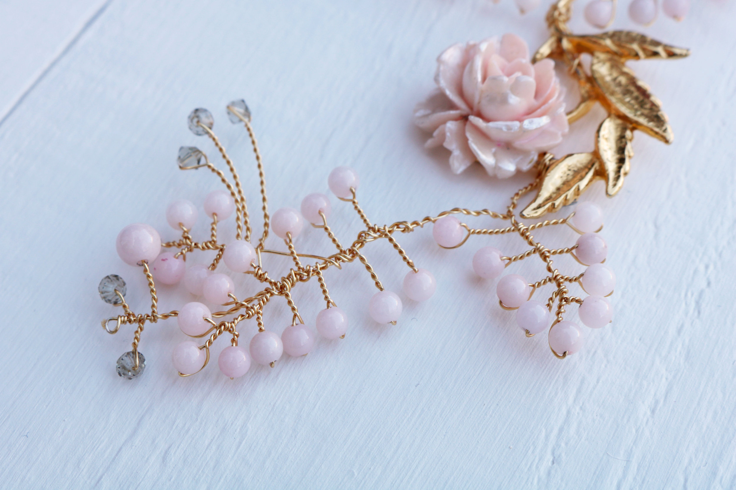 A vine that's inspired many more...using vintage brooches has become part of my signature style, along with delicate branches with neat twists and subtle colour every now and then!