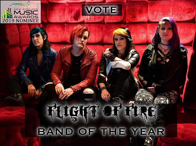 """🤩 We are super excited to announce that we have been nominated for """"Band of the Year"""" by @nemusicawards !! It's an honor to be nominated alongside so many incredible artists in the scene! ⭐️ VOTE NOW for your faves by following the link in our bio! Thank you all so much for your love and support! ❤️ . . .  https://nemusicawards.com/vote/ Makeup provided by @maccosmetics  Photo by @pcrean  #rockerchicks #flightoffire #macartistrelations #rockstarlife #bandoftheyear #womeninmetal #womeninrock #womeninmusic #femalefrontedmetal #femalefrontedband #femalefrontedmetalbands #allfemaleband #allgirlband #thehustleisfemale #girlband #metal #heavymetal #womenpower #femalemusician #thefutureisfemale #metalband #rockband #womenofmetal #womeninrockandmetal #frontwoman #badassbitch #sherocks #girlbassist #guitargirl #femalesinger"""