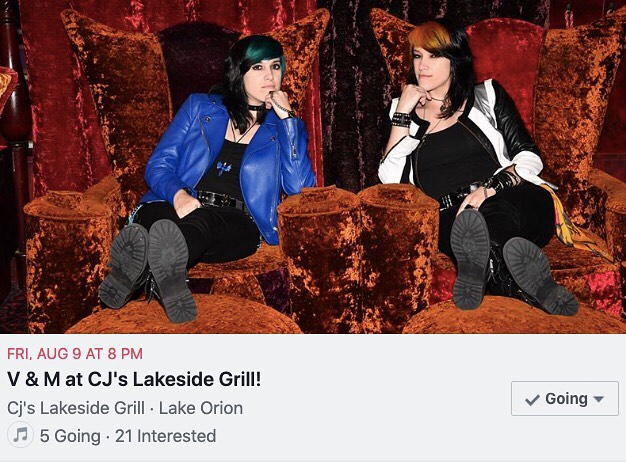 ⭐️ Hey Michigan! Your favorite dynamic duo is back in town! Come to CJ's Lakeside Grill in Lake Orion this Friday and let us serenade you! We'll be performing from 8pm-12am! ⭐️ . . . Photo by @pcrean 🤘#womeninmusic #duo #twins #twinning #twinstagram #gig #twinsisters