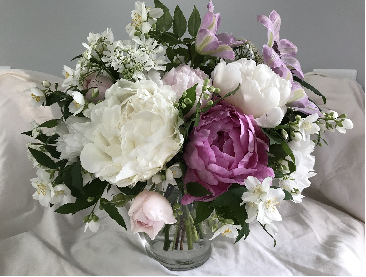 Connor's bouquet—peony, rose, clematis, orlaya, mock orange