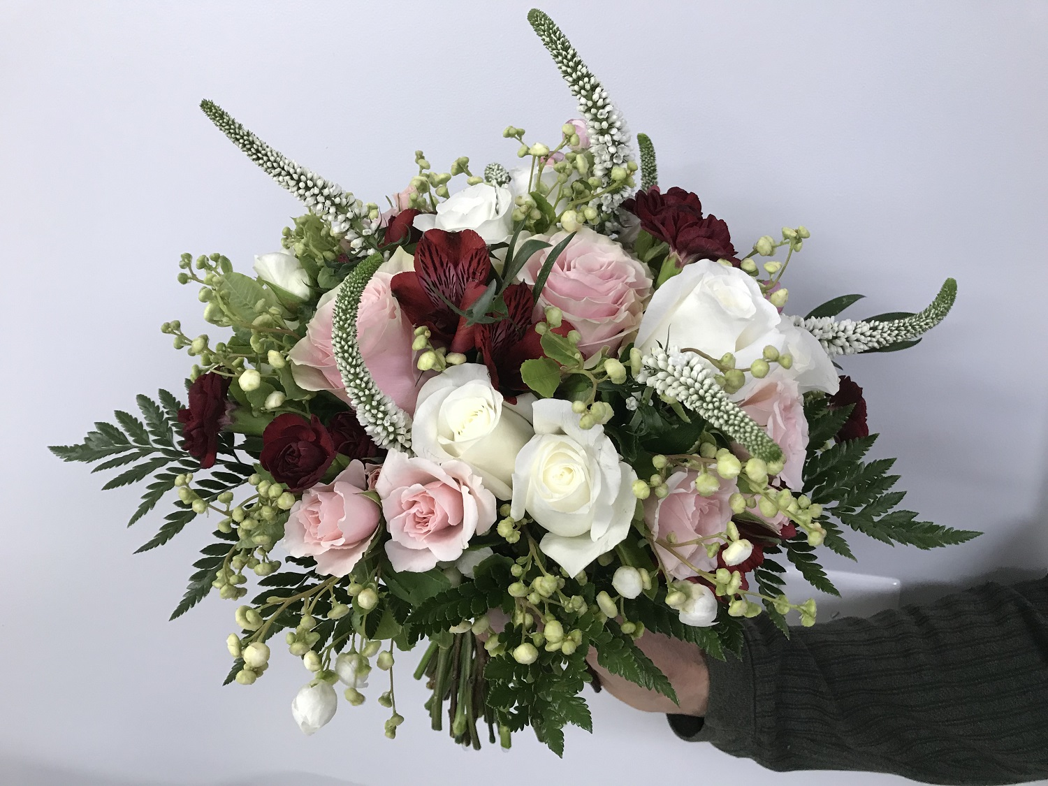 Sarah's bouquet—roses, carnation, fern, mock orange, lysimachia, alstroemeria