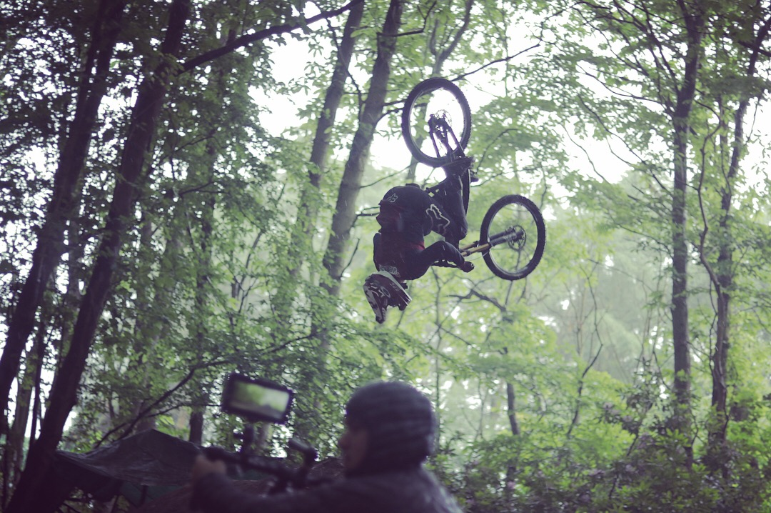 I filmed using the Movi M5, running around 10 - 15 metres along side the trails for each take - with over 50 attempts at the trick you can imagine I was as tired as Rob!