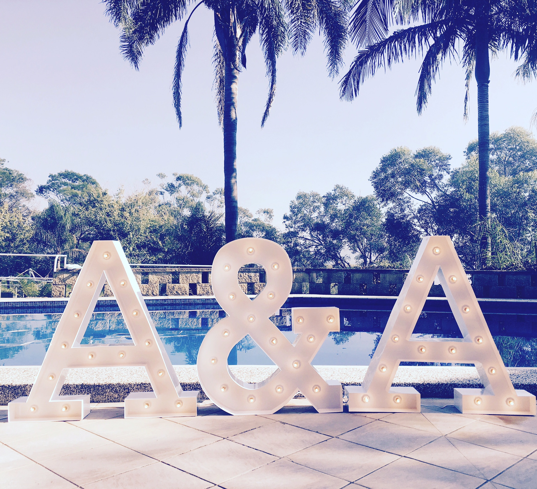 Marquee letter light hire event sydney wedding