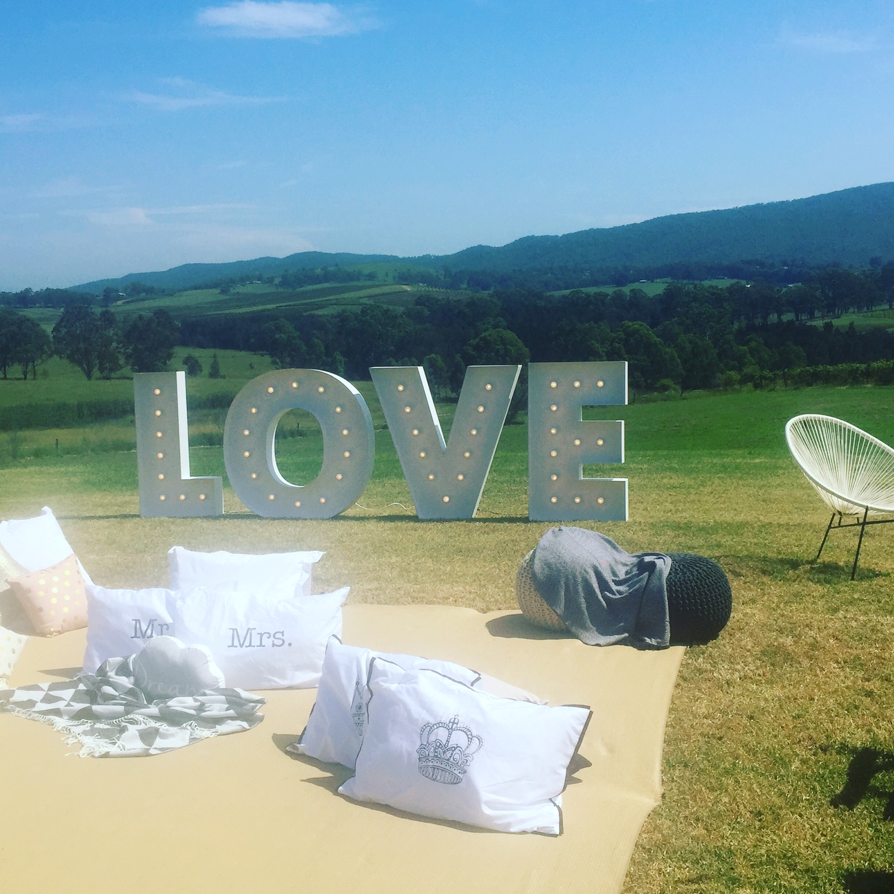 Love sign marquee letter light hire Hunter Valley vineyard