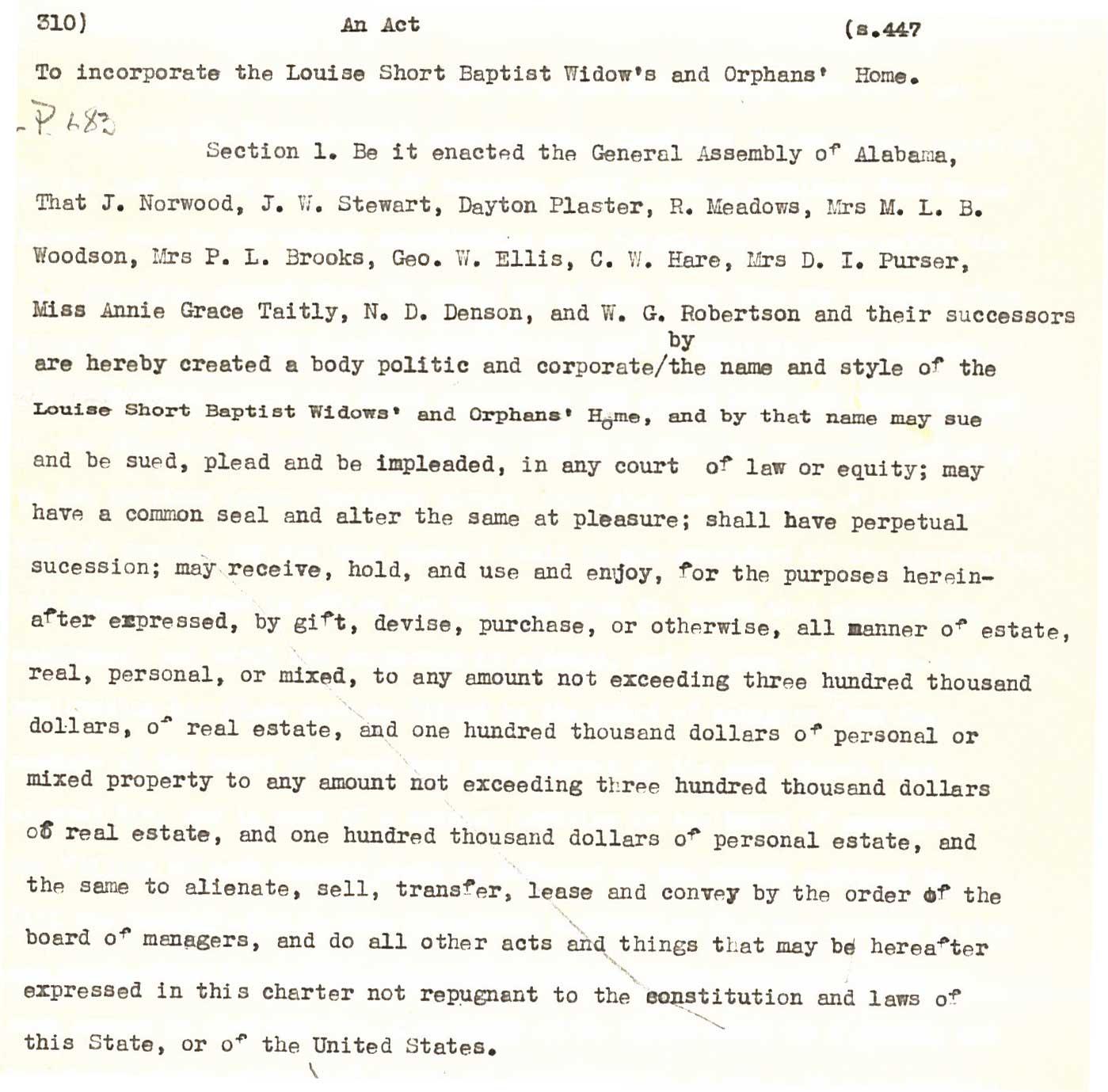 Original charter from 1891
