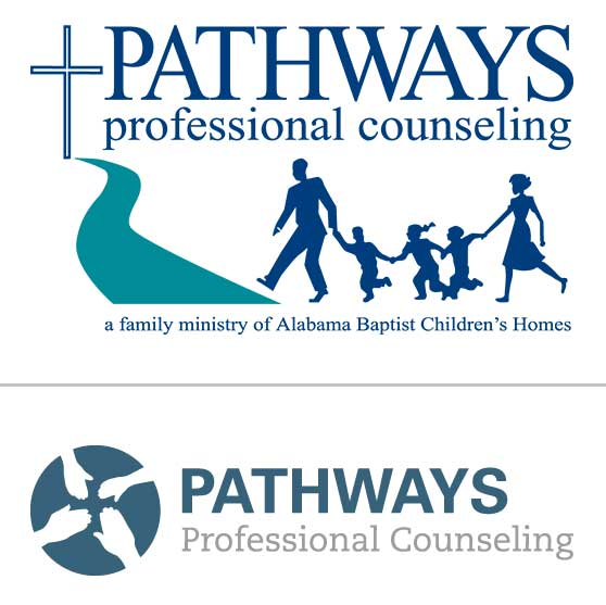 The original Pathways logo (top)and the new logo under the ministry's recent re-brand