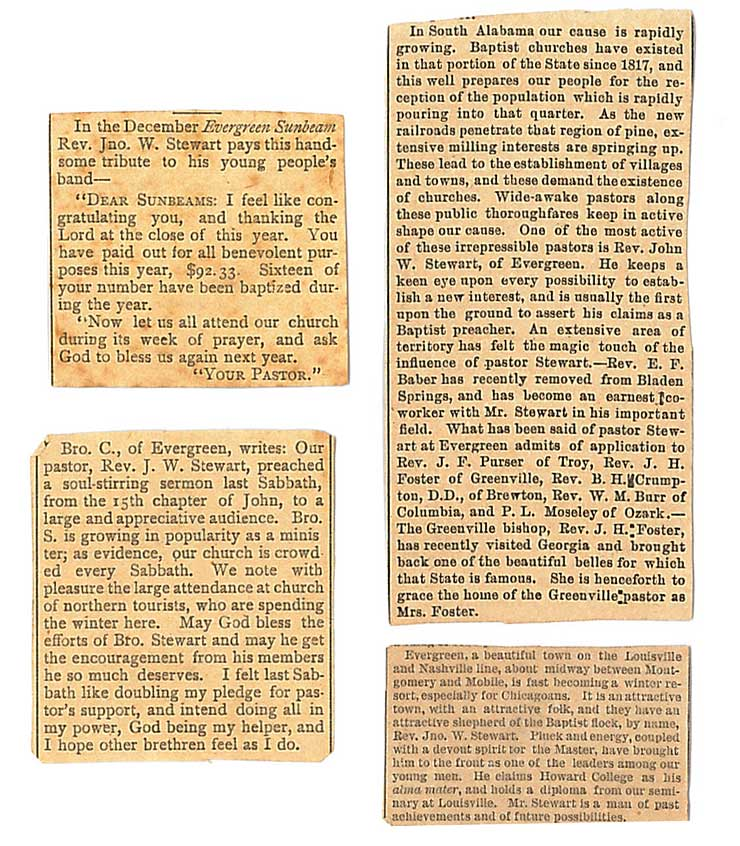 Newspaper clippings about Rev. Stewart