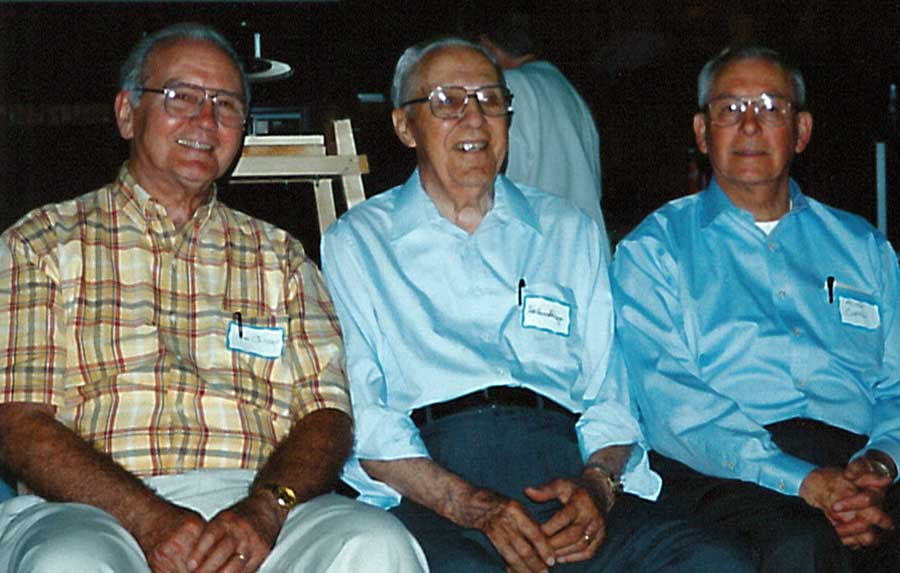 Tom Collier (L) with Hobson Shirey (center) and Milton Curtis (R), attending a Children's Home reunion