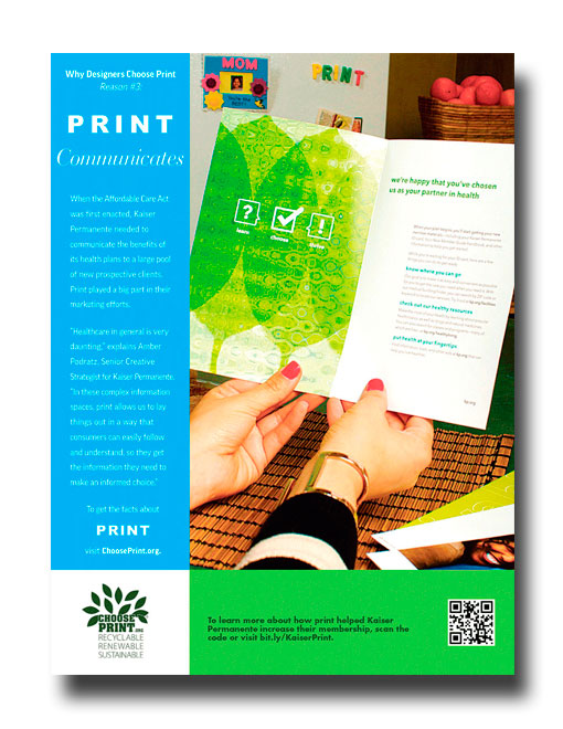 Graphic Design USA Magazine Ad  This image was shot using print materials created by Kaiser Permanente. The same materials were used in the video, linked with the QR code, that accompanied the print ad. The ad appeared in Graphic Design USA magazine.