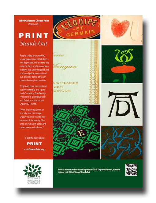 Print Magazine Ad  The image in this ad is a compilation of seven different images. Each image is of an engraved printed piece. It took creative lighting in order to bring out the raised text and graphics printed on each piece.