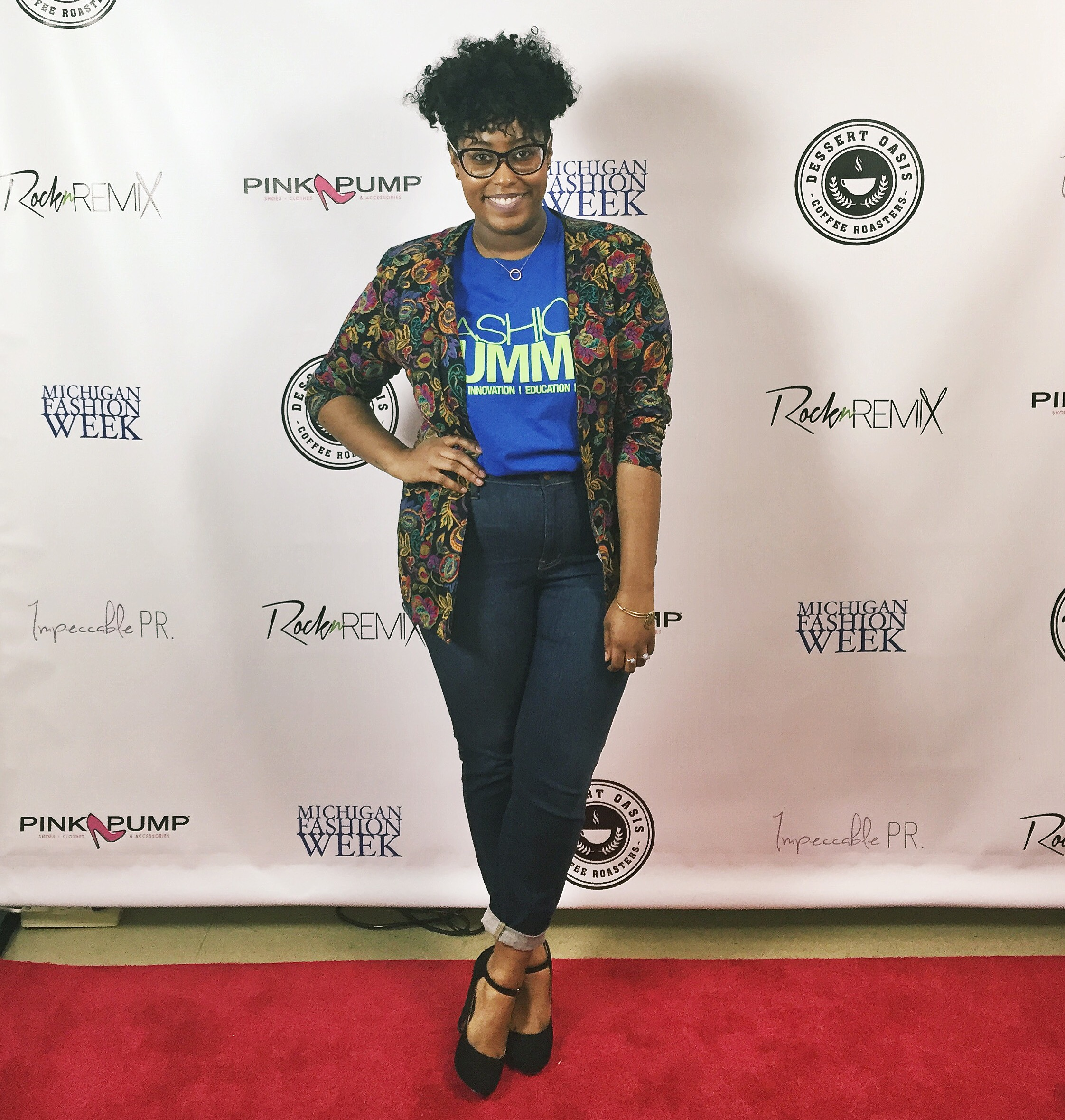 Striking a pose on the red carpet at the 2016 Michigan Fashion Summit.