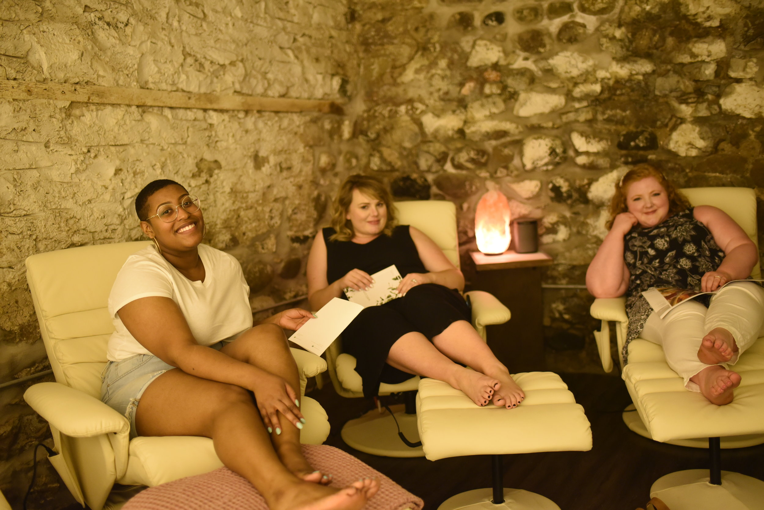 Anne, Liz and I getting ready before our salt room treatment.