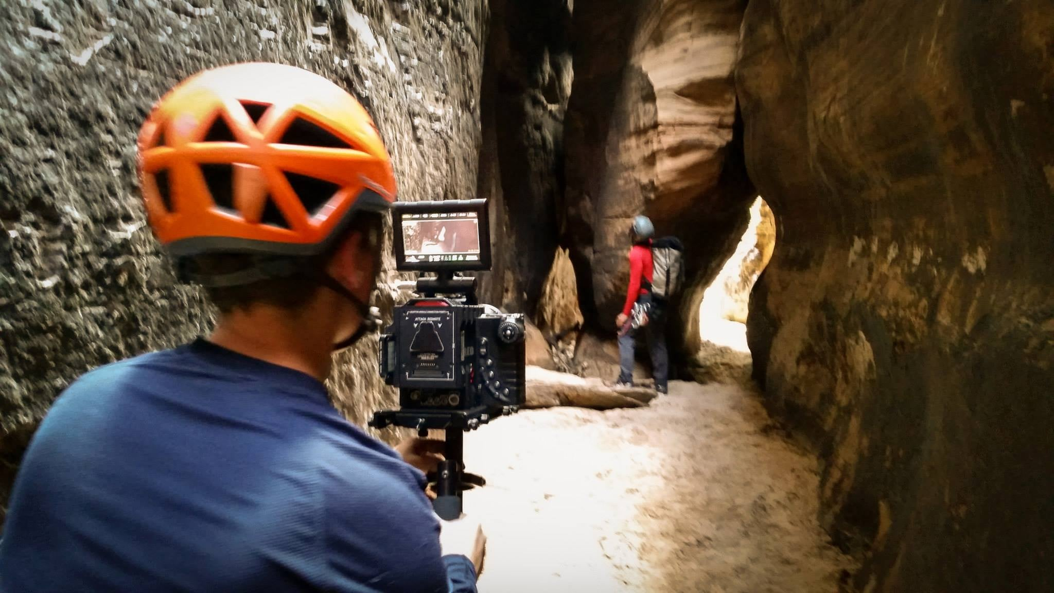 Filming in a beautiful slot canyon on southern Utah. Photo by Francisco Camberos.