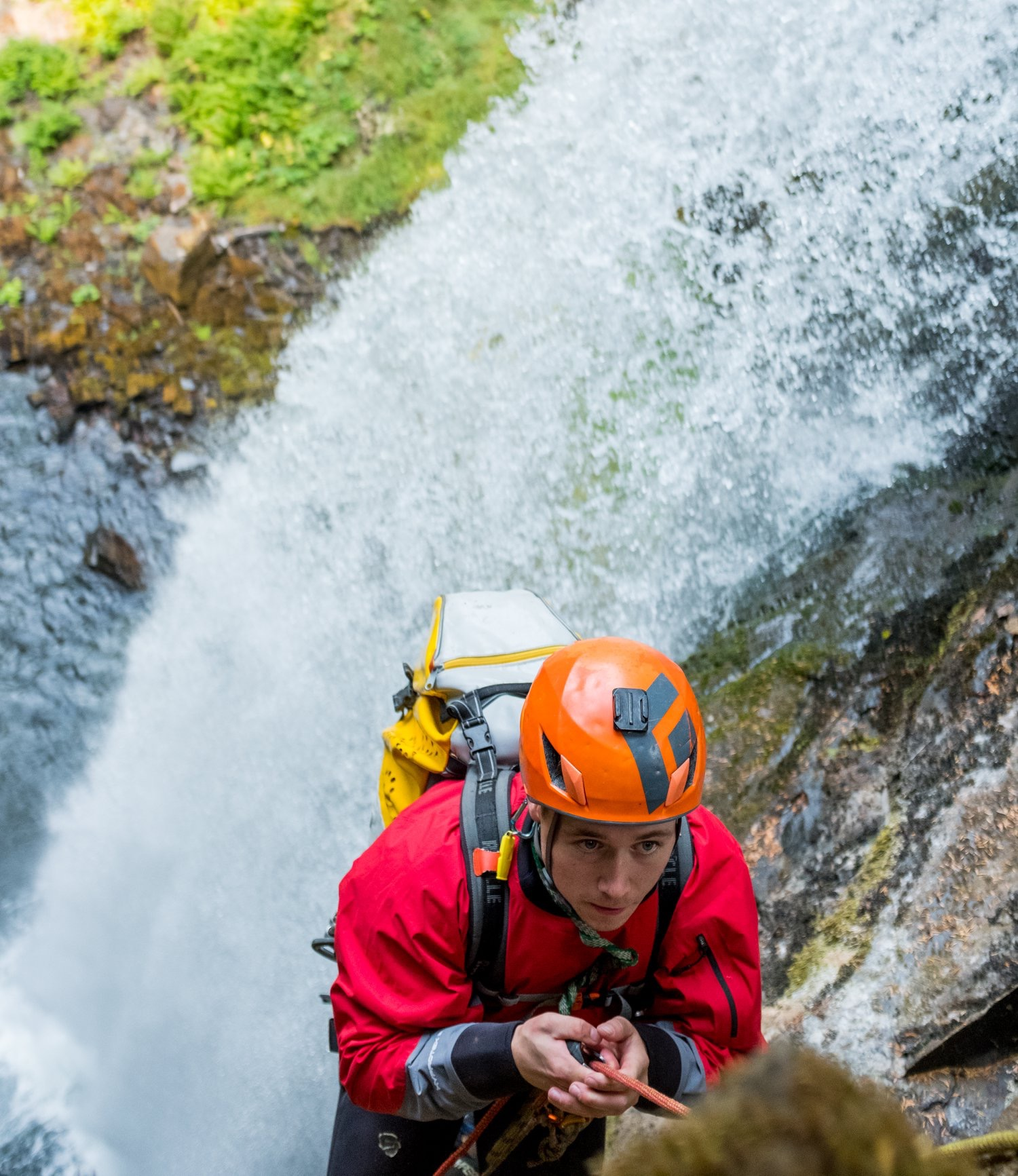 Ascending a rope in the PNW, being covered for a video project for REI. Photo by Jim Aikman.