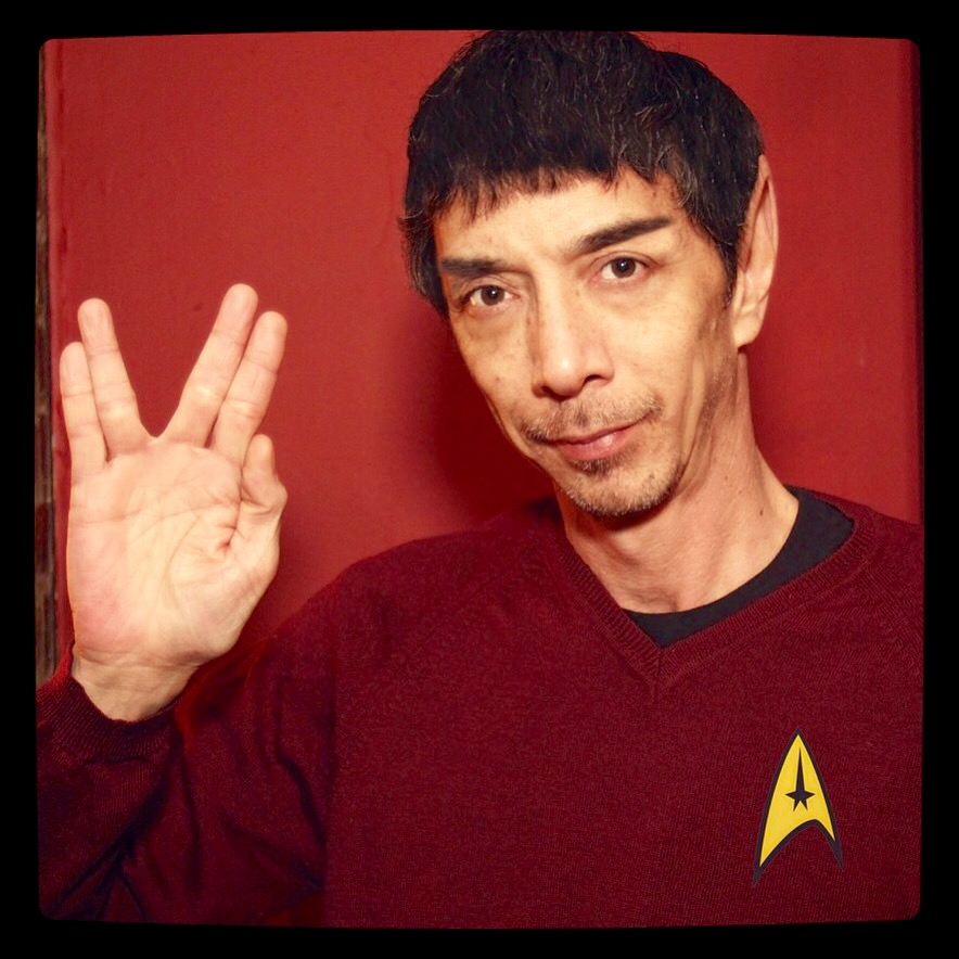 My friend Santos who shares my fellow love of Star Trek. Not to be mistaken for a Trekkie (cough), despite the plastic ears. (Photo credit Santos-selfie)