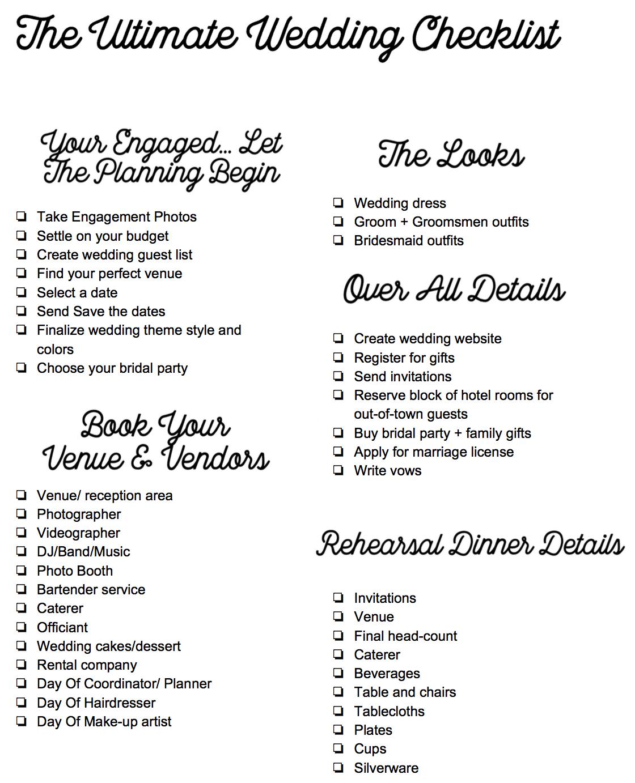The Ultimate Wedding Checklist — HAULIN' NOSTALGIA