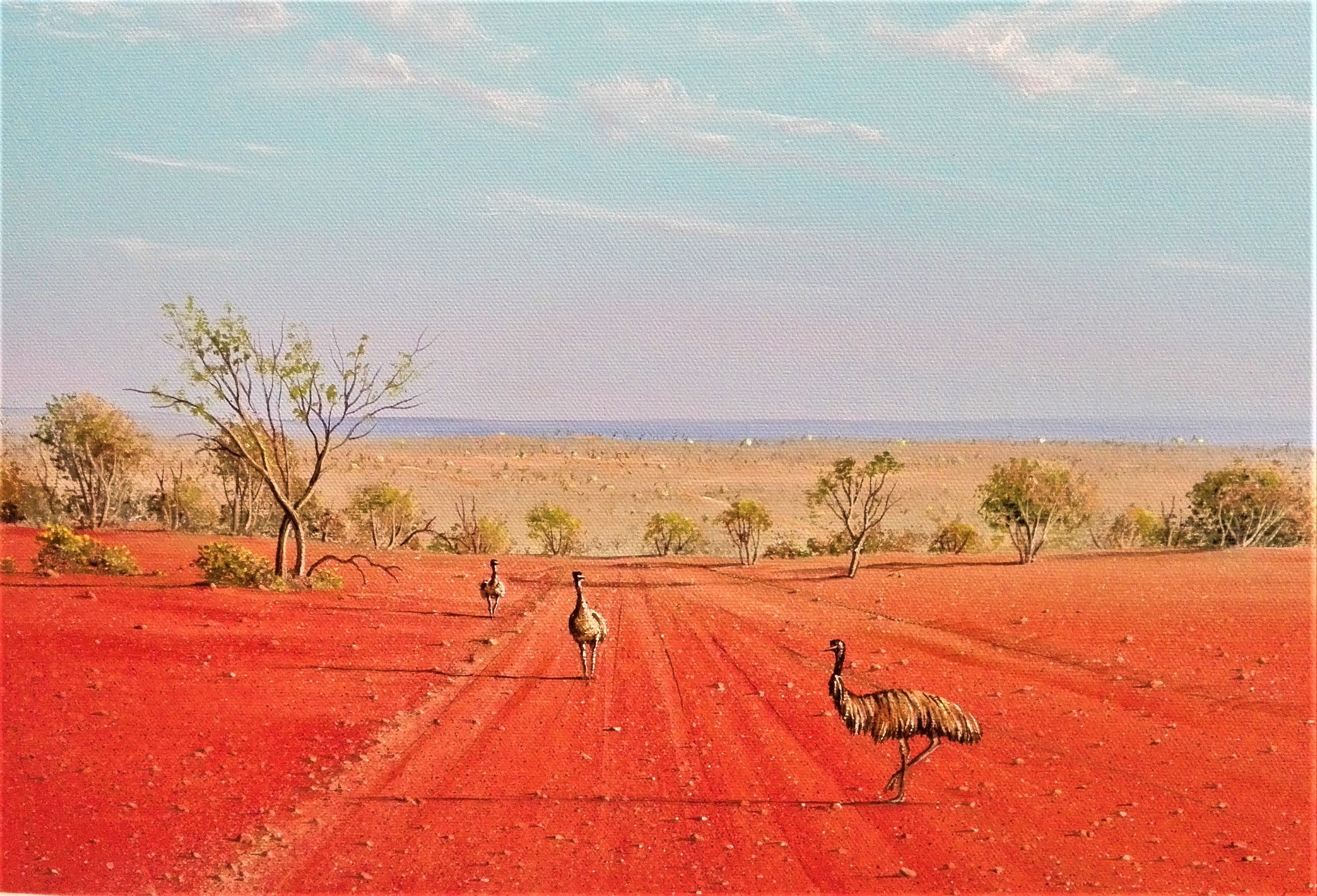 Emus on the Track - SOLD