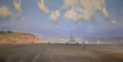 Autumn Shadows – Middleton                                         Oil on canvas – 120x60cm  Interest is invited first by the fact that you will not see yachts at Middleton, but you do in this painting. At last the viewer is drawn by the cliffs and beyond as the depiction of distance takes hold.