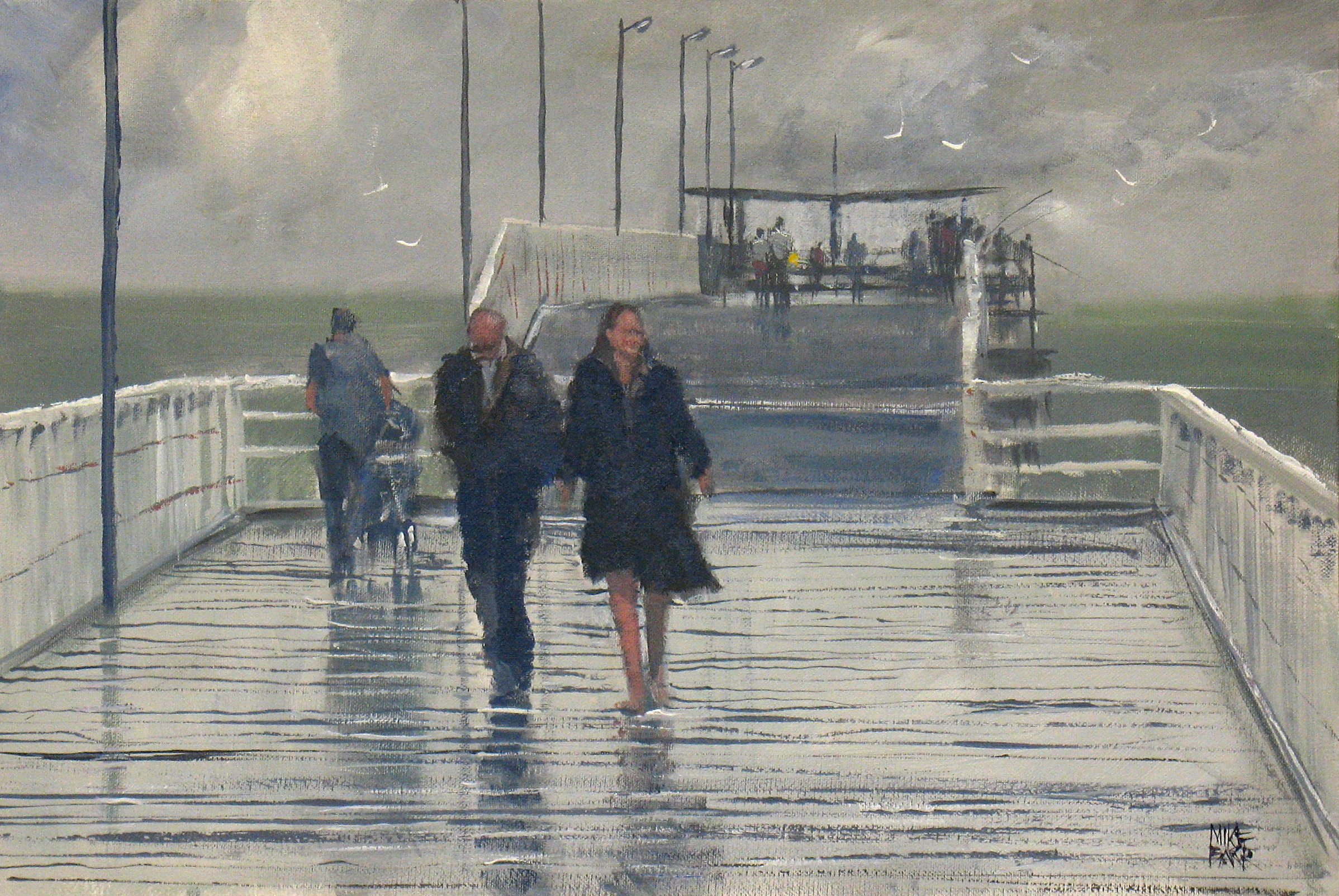 Caption: After the rain - Largs Jetty - acrylic on canvas board. Can you sense that after-rain feeling?