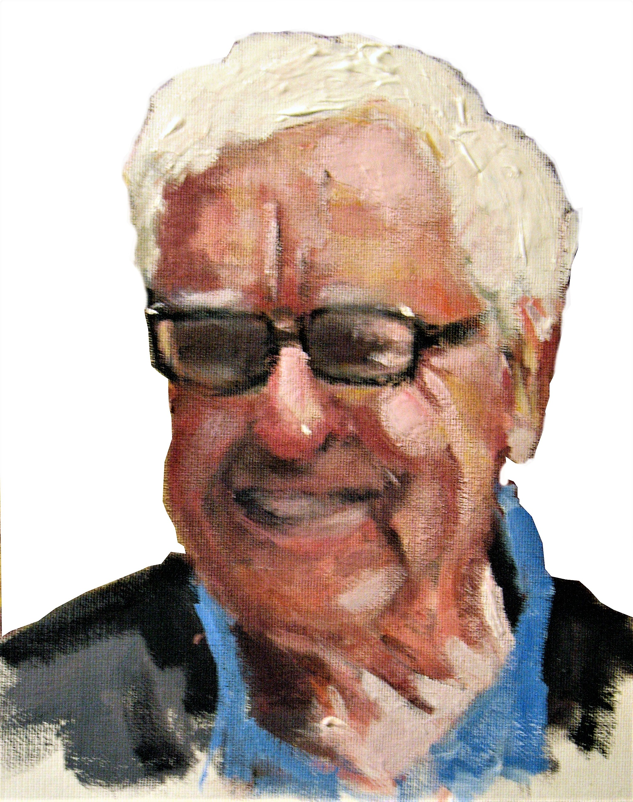 Caption: A quick, unsophisticated acrylic sketch of former President of the Royal South Australian Society of Arts, James Raggatt. I'm not a portrait artist, but was lucky with this one as it did capture James's likeness and infectious smile. December 2008.