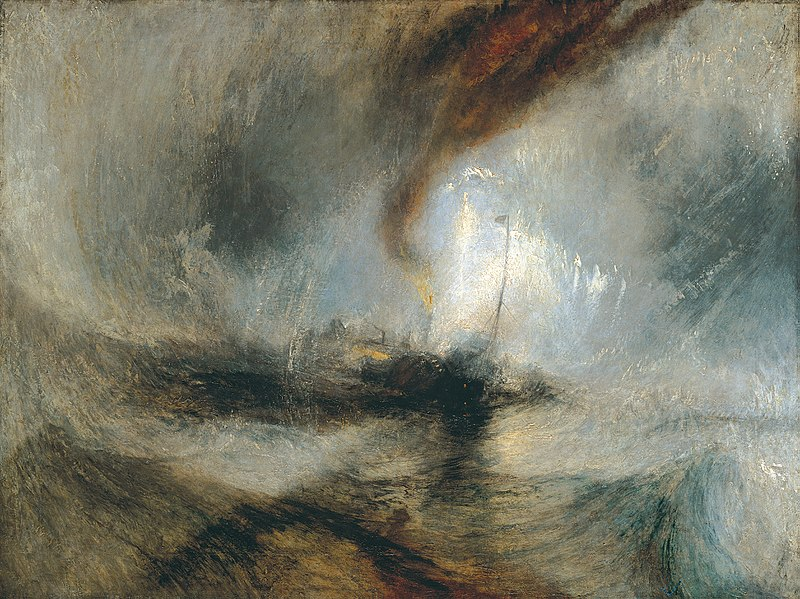 Caption: Turner's  Snow Storm: Steam-Boat off a Harbour's Mouth – oil on canvas 91x122cm.  With this work who could deny that Turner was the father of impressionism.