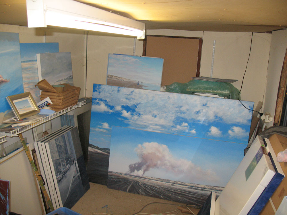 Caption: Ten years ago I painted in the shed at the back of the garden for a while. There was barely enough room for storage but the little space between easel, artist and palette was all that counted.