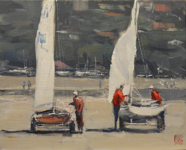 Two Yachts - this was painted in acrylic plein air at Seacliff. I have blurred the background detail as well as toning down the colours. Note that the touches of red in the distance are not as intense as those close up. Also the blurring of the background has allowed the yachts and sailors to have prominence.
