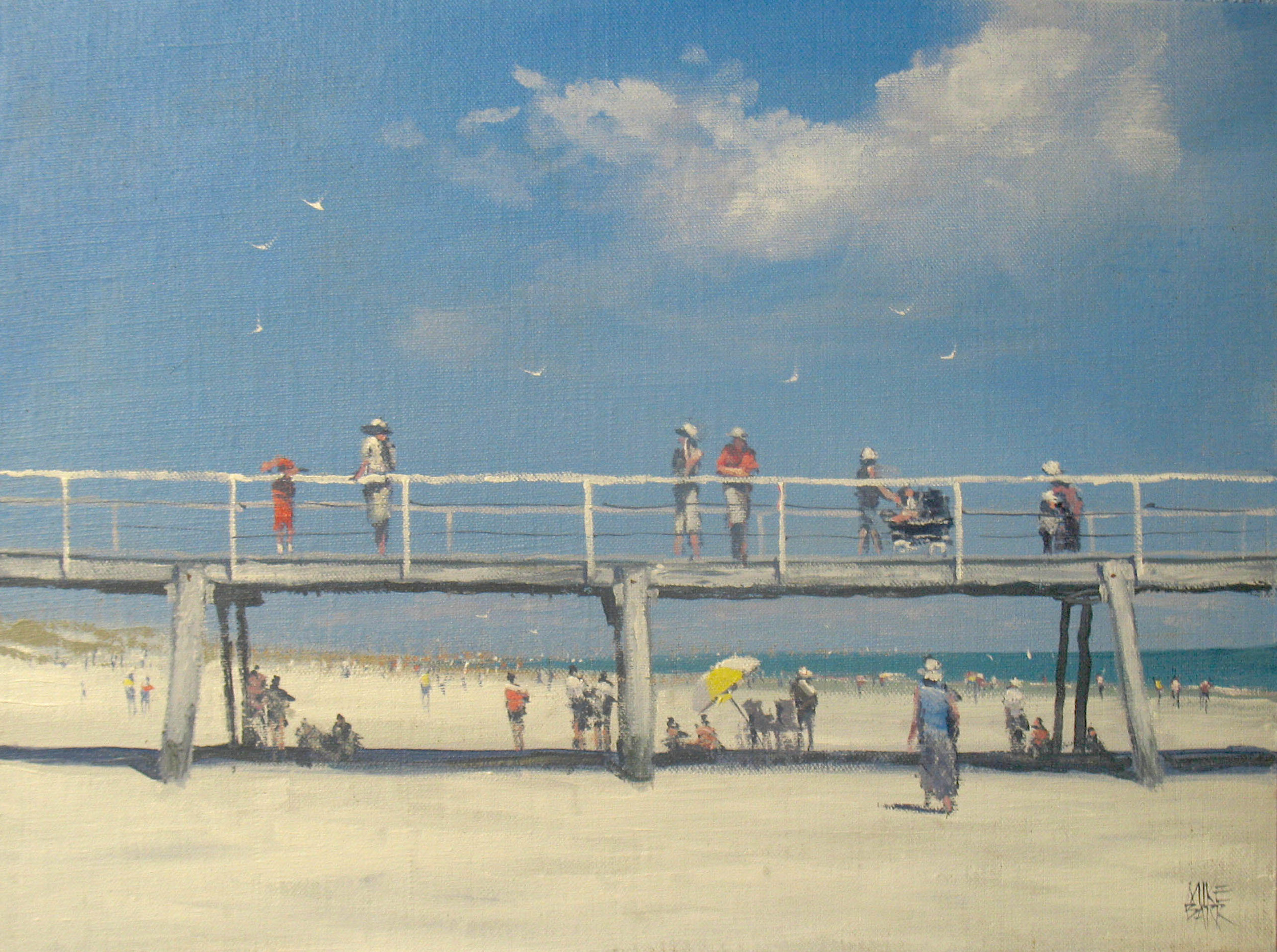 Semaphore Summer is one of several I have painted of the Semaphore Jetty in South Australia. It was greatly inspired by Charles Conder's work 'Holiday at Mentone'. We can be inspired by other artists without copying their work or style.