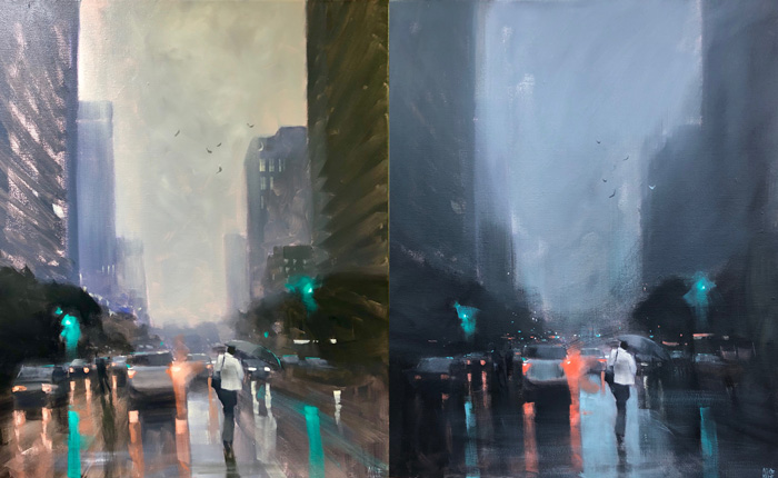 This before and after photo is of the same painting. I thought the initial one on the left had too much to look at and was unfocussed. Sweeping changes were made in the one on the right. Everything was softened and cooled down, and all the sharp edges live around the figure in the foreground. The painting just felt better to look at.