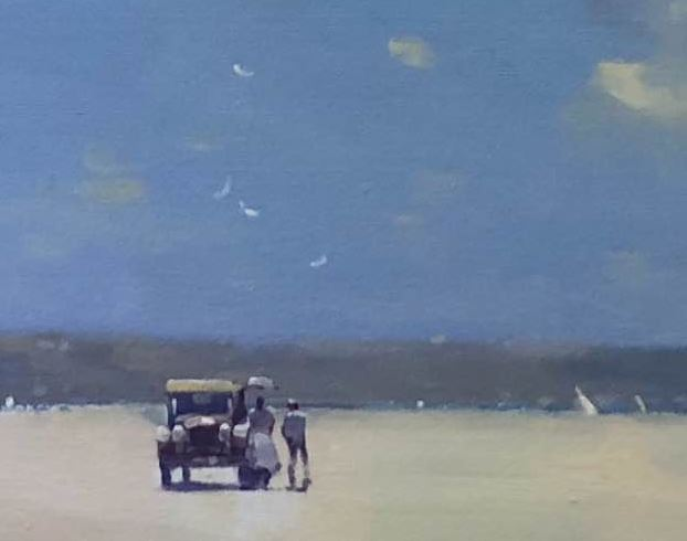 There is little detail in this painting, but the strong shadows and light produce the feeling of high summer on the beach.
